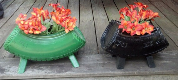 Recycled tire flower pot for Recycled flower pots