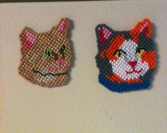 Plastic Canvas Cat Magnets
