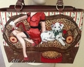 Vintage Isabella Fiore ( All I Need ) Sequin and Bead Purse / Girl with Martini  and Dog