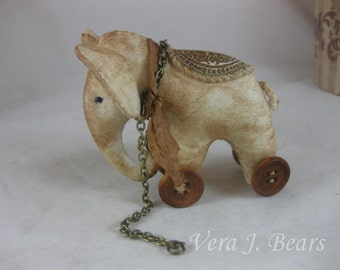 Miniature Artist Elephant Pull toy for Bear or Doll Handmade by Vera J.Bears