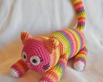 Crochet Toys : Crochet Amigurumi Pattern: Crochet Toy Cat with Colorful Stripes PDF ...