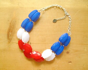 Red White and Blue 4th of July patriotic Jewelry Red white and blue statement necklace