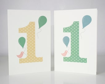 1st Birthday Card Twin Pack 2 Cards