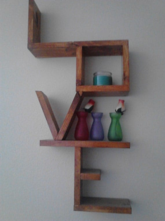 Unique Wooden Shelves ~ Handmade and stained wooden love shelf