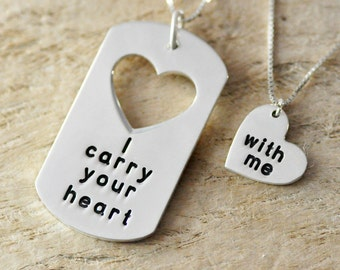 New Year Gift 925 Sterling silver Couple Necklace Set -Taken Heart - Gift - custom message