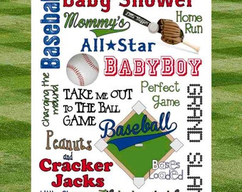 Baseball Baby Shower Subway Art