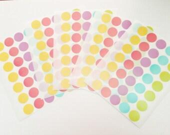 350 pieces round label mix color 6.5/8 inch