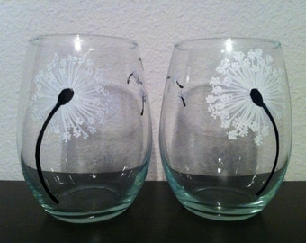 Hand Painted Dandelion Stemless Wine Glasses - Set of 2