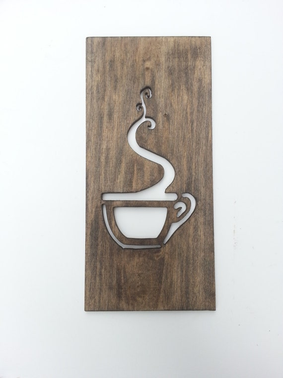 Wood Wall Decor For Kitchen : Kitchen art coffee sign modern wood home decor unique wall