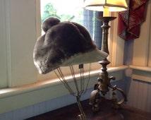 1970's Taupe Faux Fur Pimp Hat w/ Leather Brim & PomPom at top