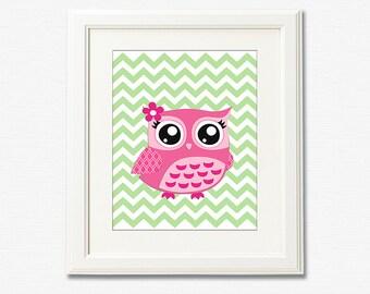 Pink owl nursery Art Print - 8x10 - Children wall art, Baby Room Decor, nursery art, pink and green, chevron  -  UNFRAMED