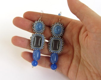 Long Pale Blue Bead Embroidered Long Earrings