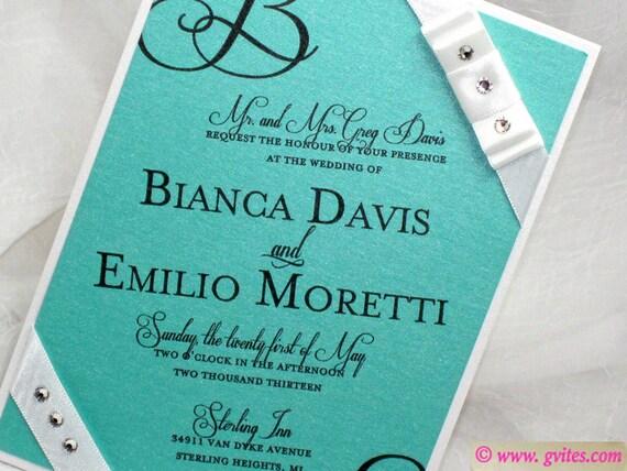Wedding Invitations Turquoise: Elegant Wedding Invitations Turquoise Wedding Handmade By