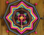 "RESERVED for Pam - 18"" Mandala Woven Yarn Art - Ojo de Dios Wall Hanging - Ethnic Vibe"