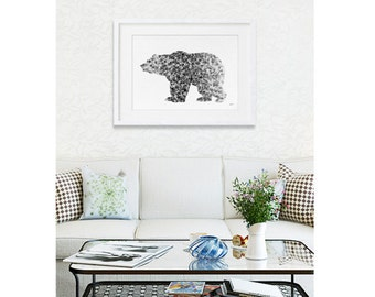 Bear Watercolor Print - 16x20 Archival Extra Large Print - Animal Painting - Grizzly Bear Art Print - Wall Decor Art Home Decor Housewares