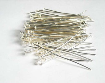 100 Silver Plated Head Pins 30 mm Jewelry Findings .7mm Thickness SPHP30.7MM-100D2
