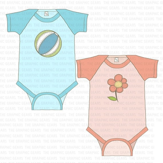Baby Onesie Clip Art Cute Boy and Girl Onesies by GraphicGears
