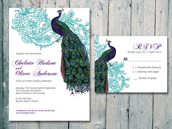 Digital - Printable Files - Teal -Vintage Peacock and Flower Wedding Invitation and Reply Card Set - Wedding Stationery - ID99