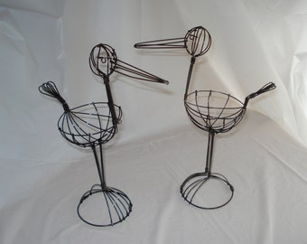 """Vintage Wire Storks - 9"""" Tall (Set of 2)  - Great for Baby Shower Decorations"""