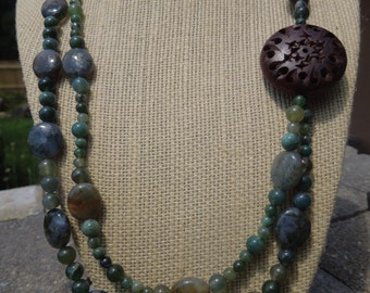 moss agate & carved rosewood asymmetrical necklace
