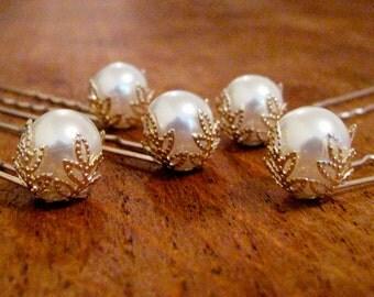 Pearl hair pins, Bridal pearl hair pins, Ivory pearl bobby pins, Silver and gold filigree hair pins