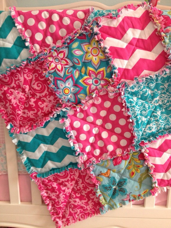 Baby Girl Chevron Pink And Teal Rag Quilt Blanket Ready To