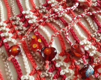 Plum and Tangerine beaded crochet summer scarf