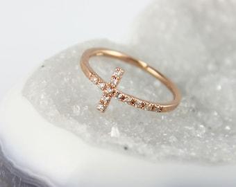 Diamond Cross Ring 14K Gold