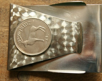 Hand crafted custom MONEY & CREDIT CARD Clip with Irish Punt / Pound Elk or Stag Coin..