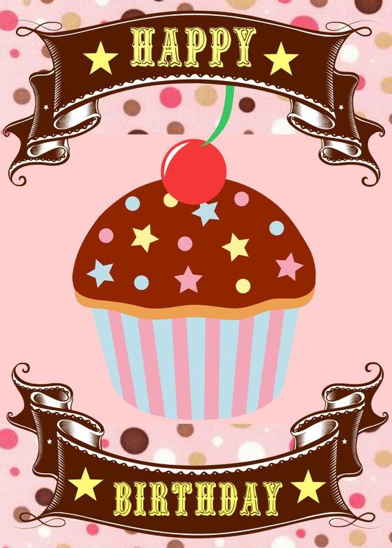 Items similar to Pink Cupcake Birthday Card Happy Birthday – Cupcake Birthday Cards