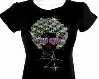 Lady with Afro - SILVER - Iron on Rhinestone Afro T-Shirt - Bling Hot Fix Natural Hair Shirt Style Stylist Transfer Afro Shirt Top