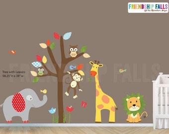 nursery Jungle Decal, elephant Wall Decal, giraffe decal, Nursery Wall Decal, Friendship Falls XXL Branch Tree Set - Joey Scene