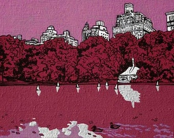 Sailboat Pond, Central Park, Painting