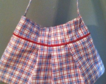 Super Cute Pleated Red,White,and Blue Purse