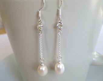 Pearl Earrings - 6-7 mm White Freshwater Pearl Dangle Earrings, Fashion earrings