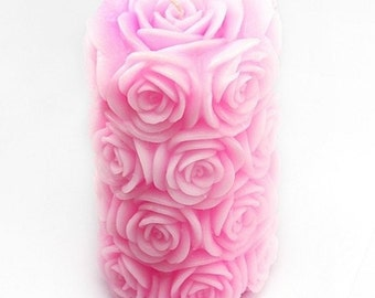 Huge Rose Cylinder Flexible Silicone Mold Candle Mold Soap Mold Polymer Clay Mold Resin Mold LZ0089