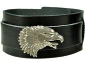 """Lederarmband """"ADLERKOPF"""", Leder, leather, Armband, bracelet, black leather, schwarzes Leder, eagle head, eagle, Adler, Niete, rivet"""