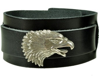 "Leather bracelet ""eagle head"""