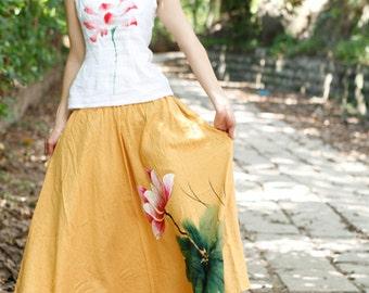 summer skirt womens skirt long skirt hand painted skirt plus size skirt womens plus size skirt womens summer skirt womens hand painted skirt