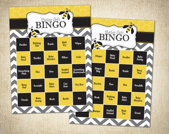 Bumble Bee Themed Baby Shower Bingo Cards - Instant Download