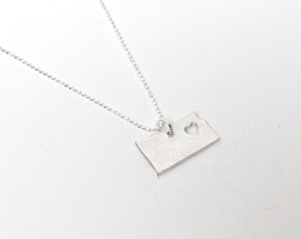 i heart Kansas State Necklace - Silver - Kansas Necklace I Heart Midway KS Pendant Kansas State Charm Map Jewelry Theres No Place Like Home