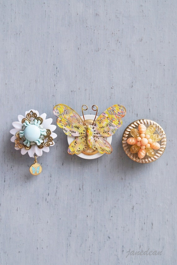 3 Butterfly Fridge Magnets - recycled jewelry and buttons