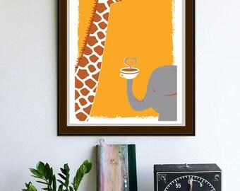 Screenprint - Coffee Art Print - Coffee Thee & Me - Giraffe and Elephant art print poster