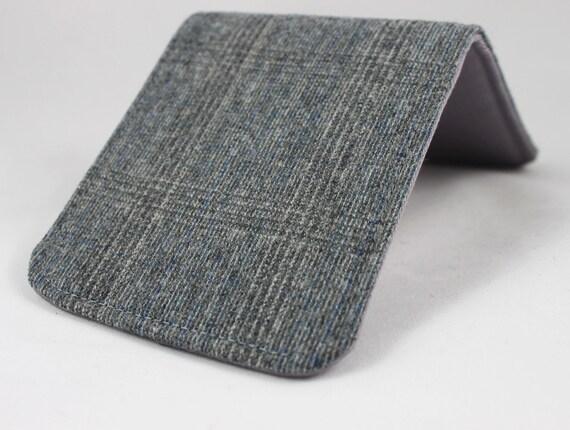 Men's Wallet Grey Plaid Wool 5 Pocket Billfold