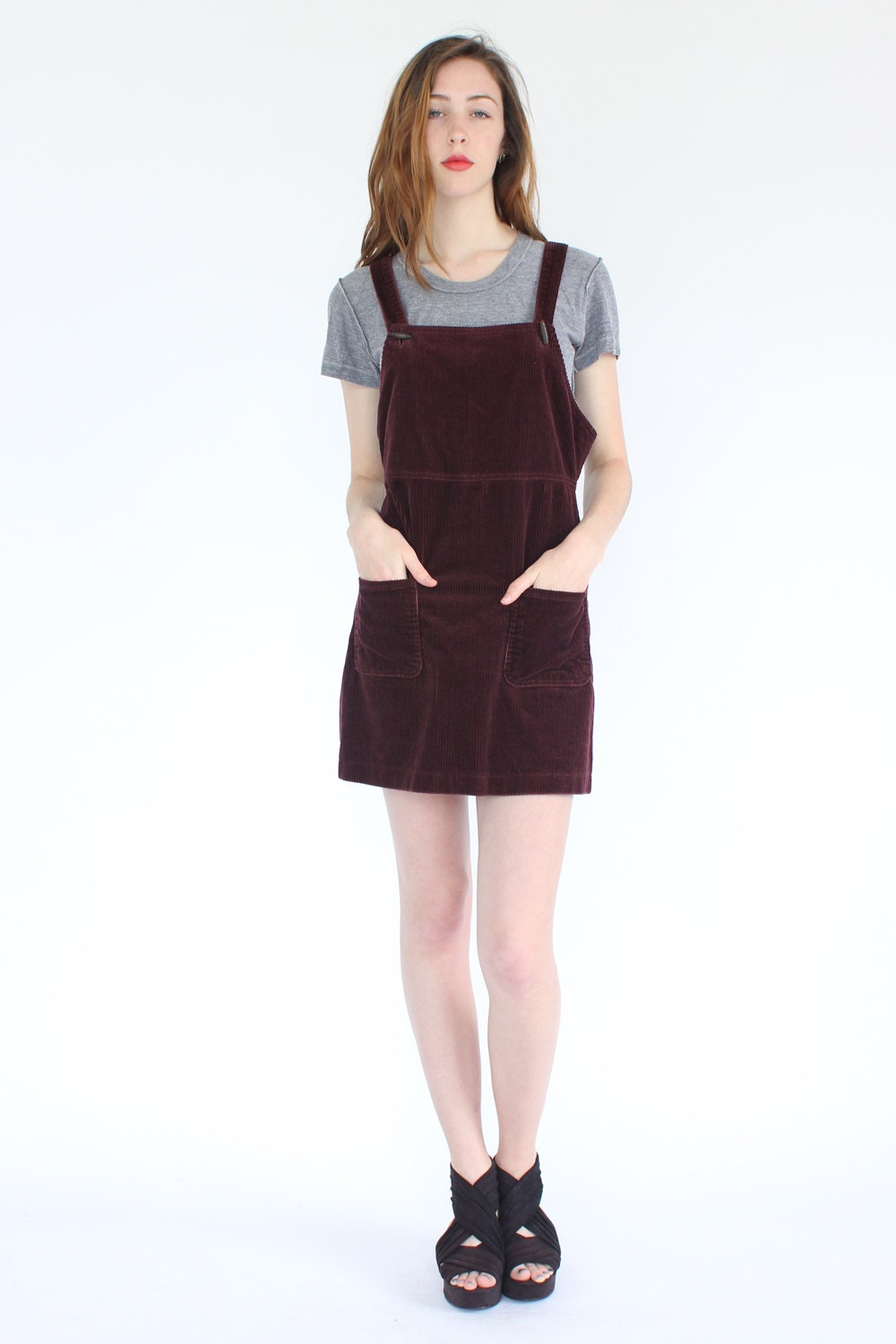 Vintage 90s berry corduroy overall jumper dress