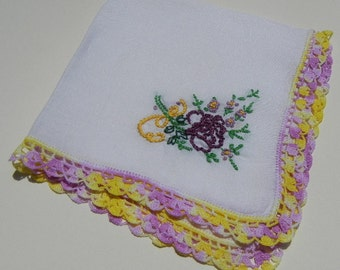 Hand Embroidered Vintage Handkerchief - White with Purple and Yellow Crochet Lace Edge -- Floral Bouquet