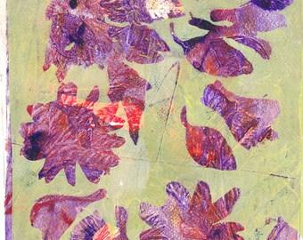 Original Monoprint Acrylic Painting No. III Whimsical Wall Art