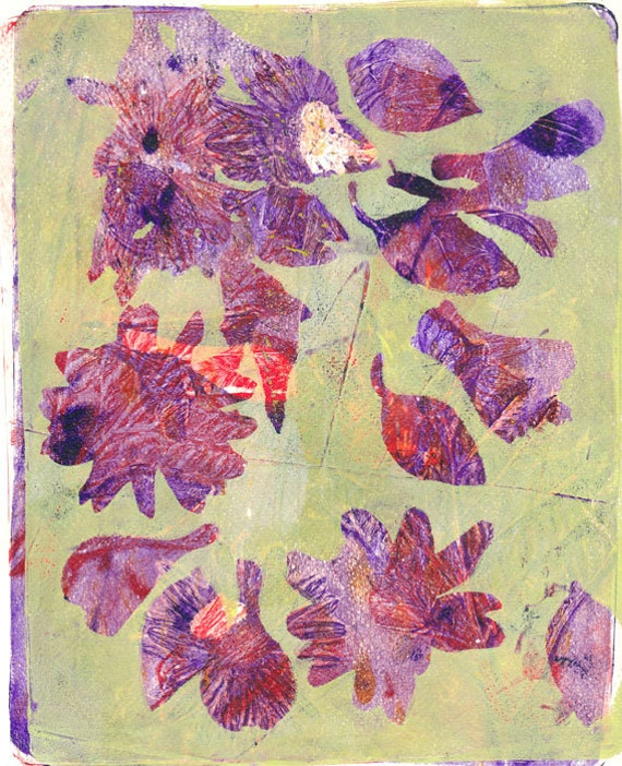 Original Monoprint Acrylic Painting No. III Whimsical Wall Art