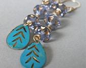 Earrings - goldfill, vintage brass, vintage glass - Cool Waters
