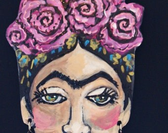 Lavender Rose Frida Kahlo Hanging Collectors Ornament - Embellished Acrylic Hand Painted